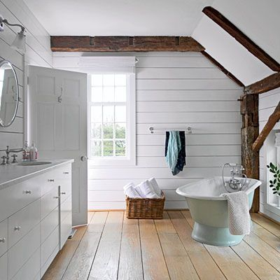 vintage cottage style | cottage style, bath and exposed beams