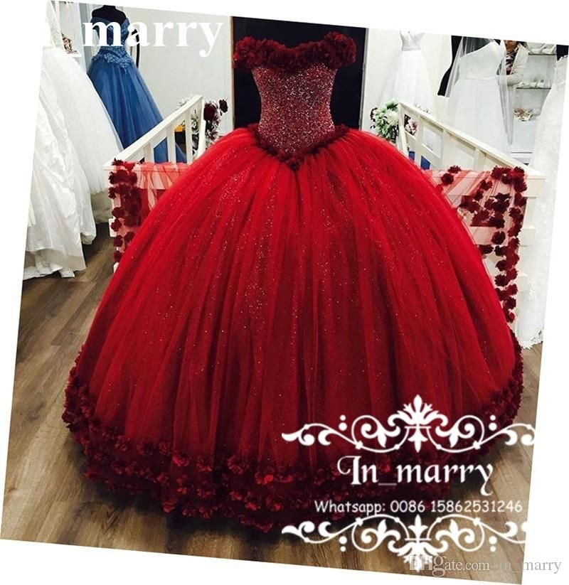 Luxury 3D Floral Crystals Red Quinceanera Prom Dresses 2017 Ball Gown Off  Shoulder Sweet 16 Masquerade Princess Debutante Communion Gowns 2017  Quinceanera ... 4b6eeea739a8