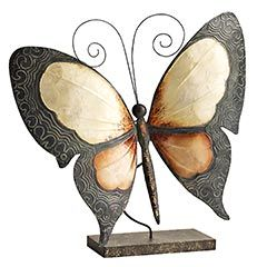 Metal & Capiz Butterfly with Stand