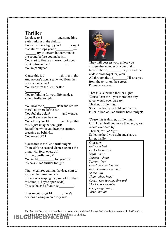 worksheet Thr Worksheets halloween song thriller michael jackson englanti pinterest worksheet free esl printable worksheets made by teachers