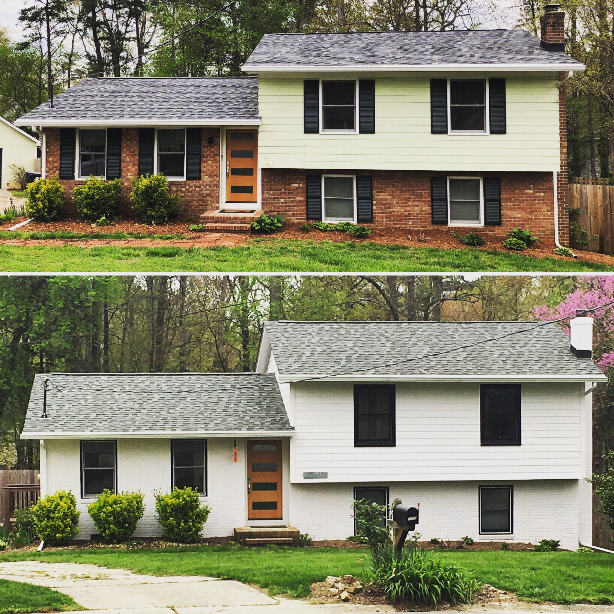 This beautiful makeover features painted brick, Harplank ... on