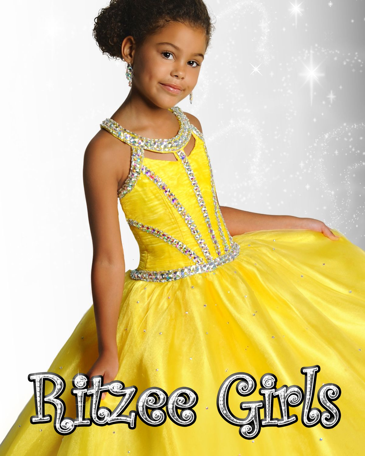 Ritzee Girls Pageant Dress Style 6902 Yellow Size 12 With Stone Package