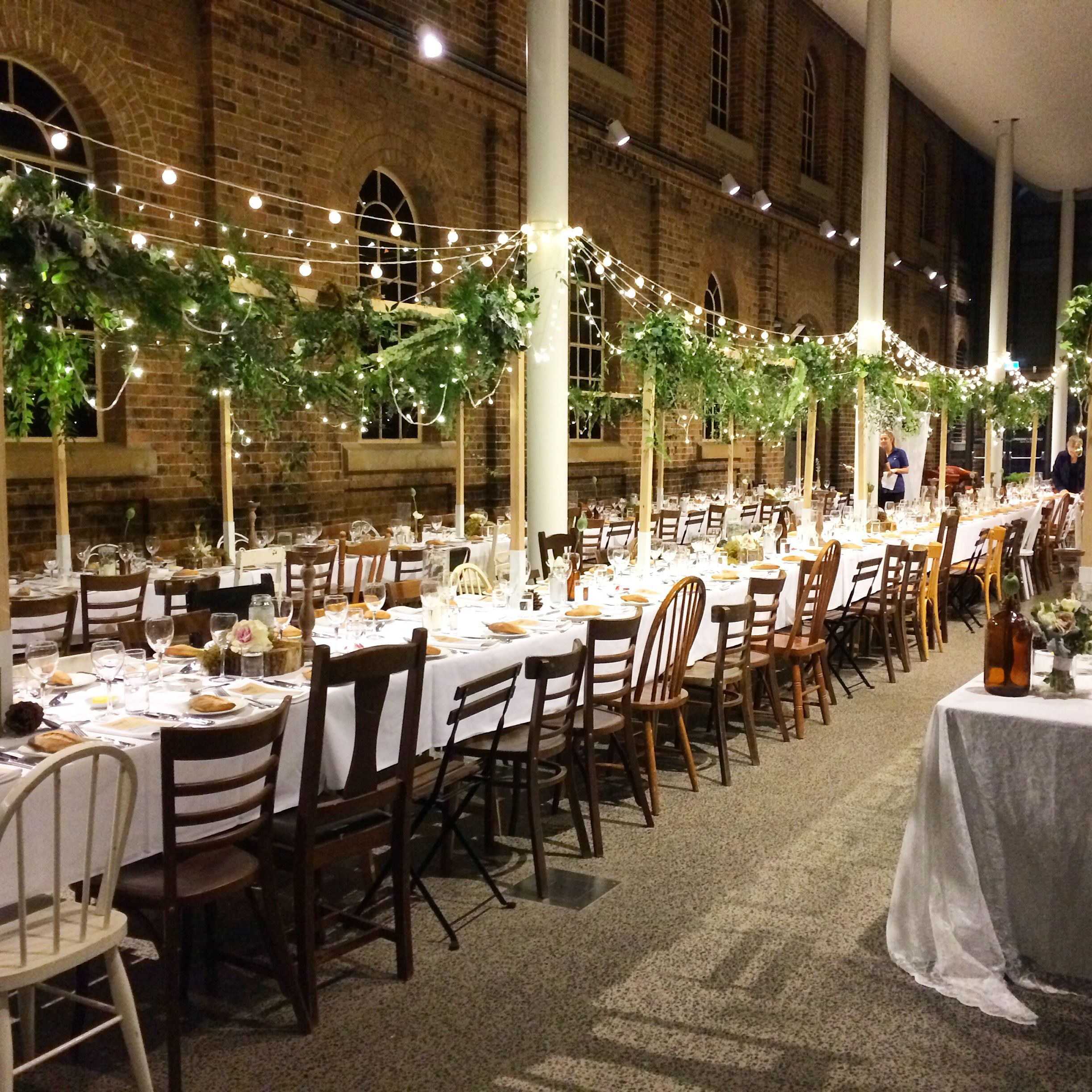 A gorgeous winter inspired wedding at newcastle museum a forest and a gorgeous winter inspired wedding at newcastle museum a forest and fairy light canopy above junglespirit Gallery