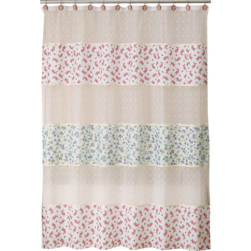 Allure Home Creations Vintage Lace Poly Linen Printed Shower