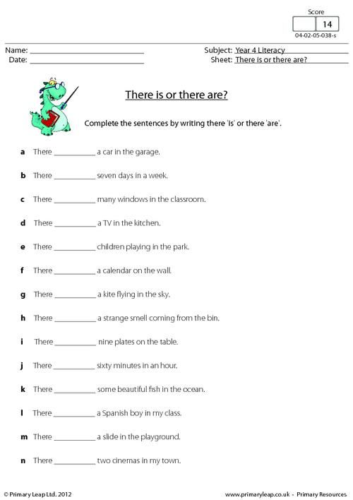 PrimaryleapCoUk  There Is Or There Are  Worksheet  English