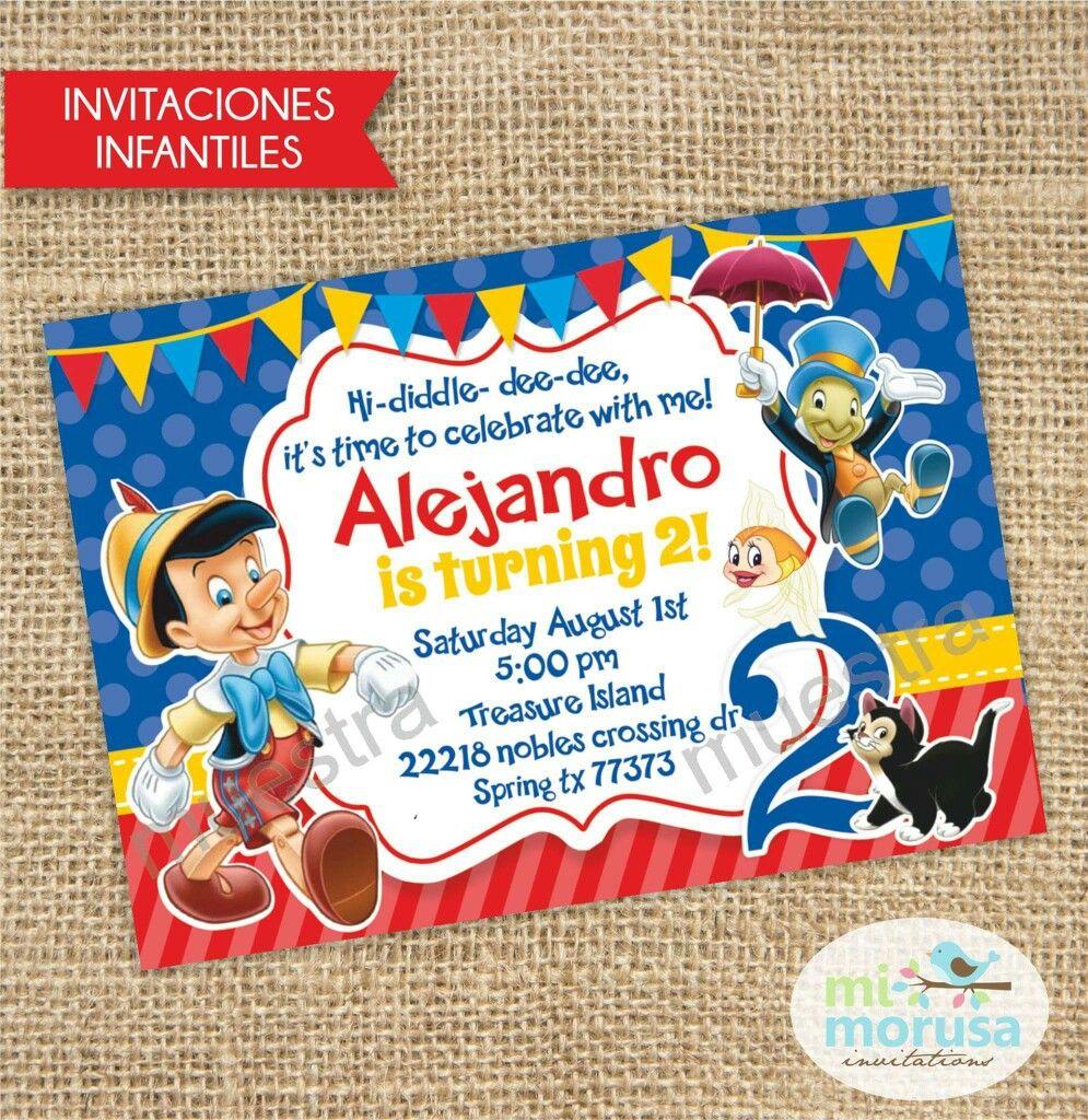Pinocho Pinocho Fiestas Disney Tarjetas De Invitacion