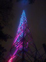 Radiomast with colourful lights, Lahti