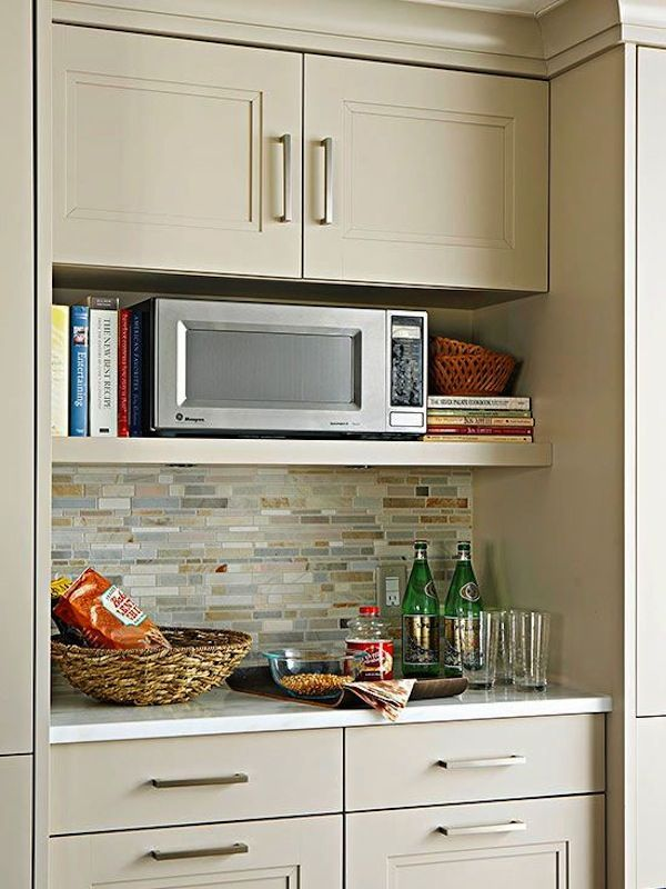 Merveilleux Furniture, Wood Wall Mounted Microwave Storage Under Cabinet Painted With  White Interior Color Plus False Exposed Stone Brick Backsplash And Kitchen  Recipe ...