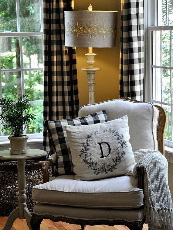 Buffalo Check Curtains In Black And White. 2 By BELLASHOMEDECOR