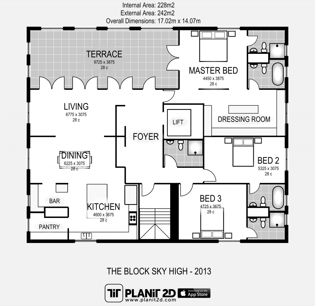 The Block Sky High Floorplan By Planit2d Floor Plans Beach House Floor Plans Apartment Floor Plan