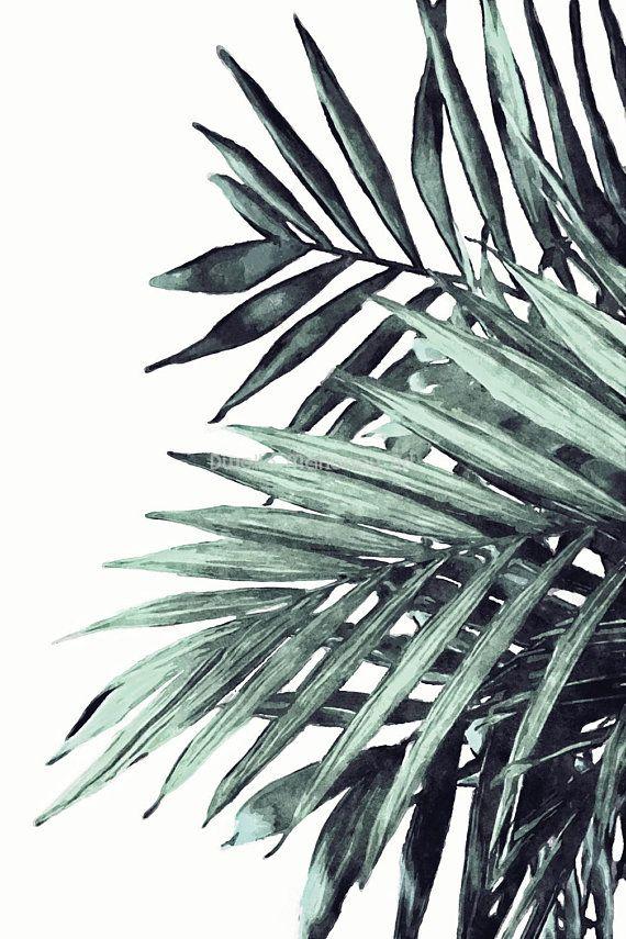 Palm Leaf Print, Watercolor Palm Leaves, Tropical Leaf Print, Botanical Print Download, Boho Printable Wall Art