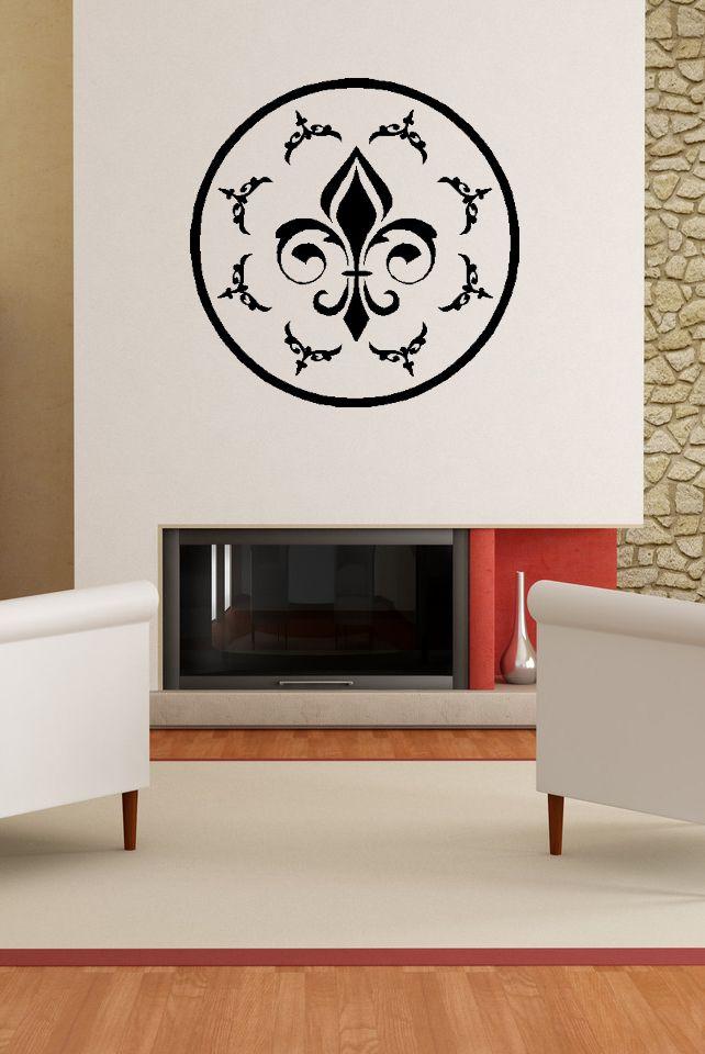 Oval Flourish Fleur De Lis Vinyl Wall Decal Fleur De Lis Wall