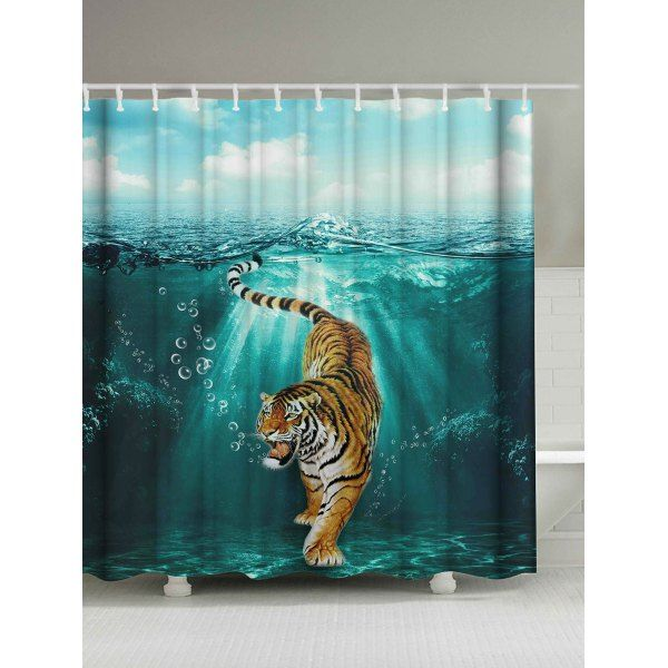 Tiger Under Water Print Waterproof Shower Curtain Colormix
