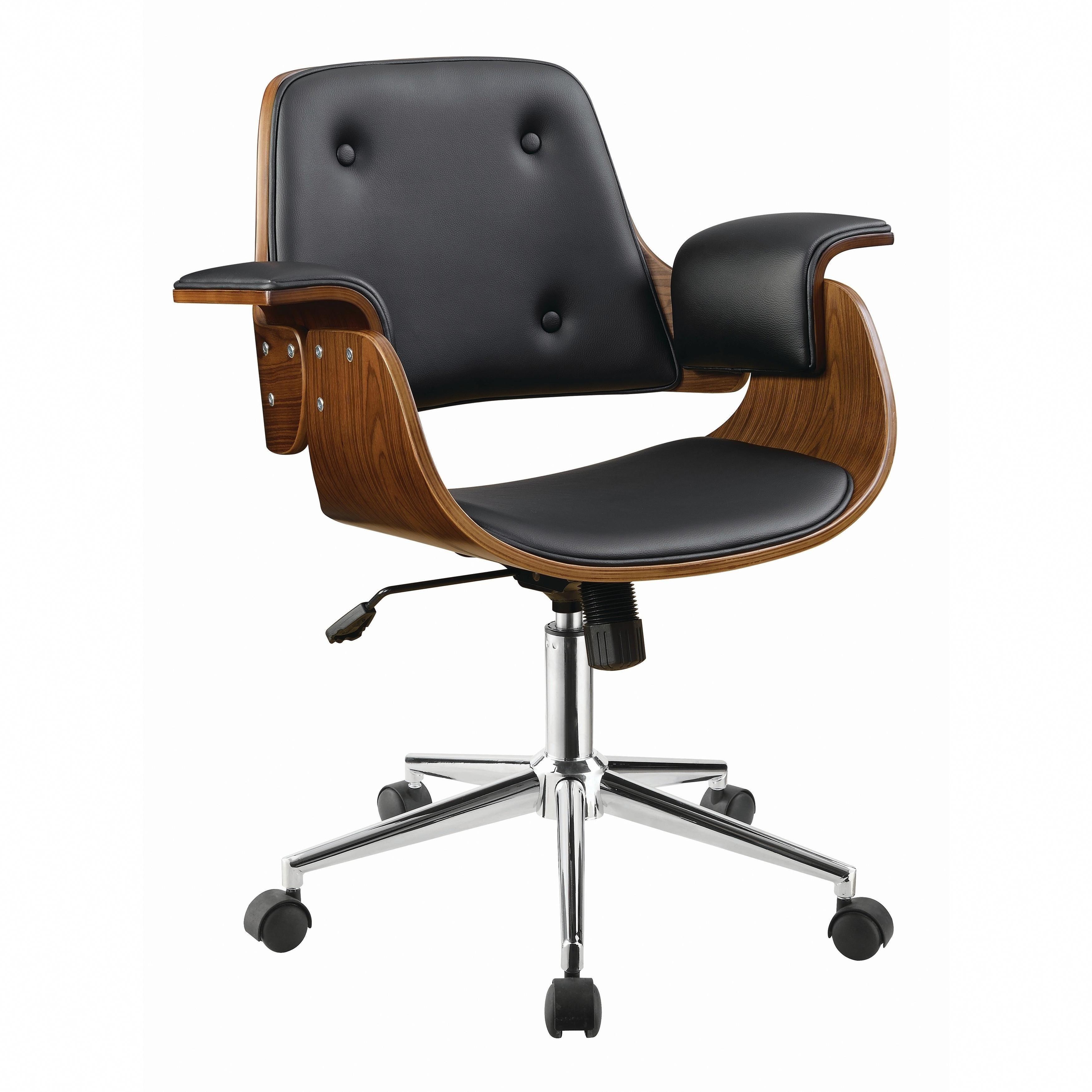 Coaster Mid Century Modern Walnut Brown Office Chair Black