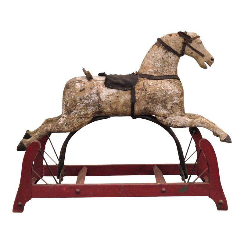 Antique Primitive Glider Rocking Hobby Horse Rustic Carved Wood Cast Iron Red Antique Rocking Horse Wood Rocking Horse Hobby Horse