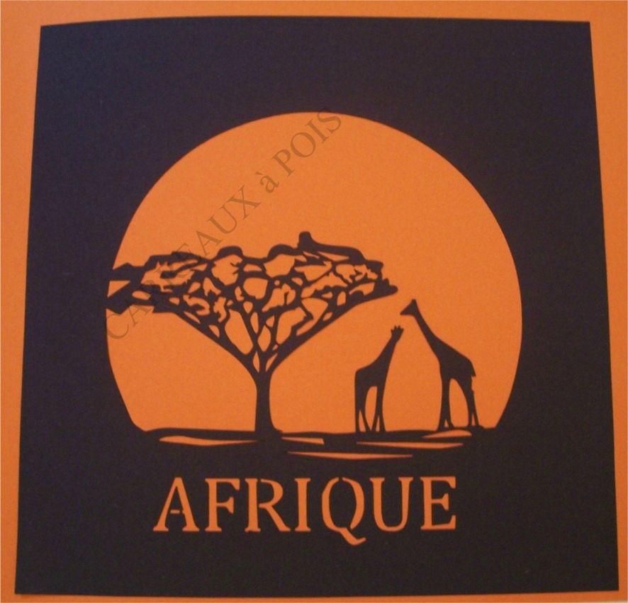 Carte De Fete Afrique.Carte Coucher De Soleil Sur L Afrique Carreaux A Pois