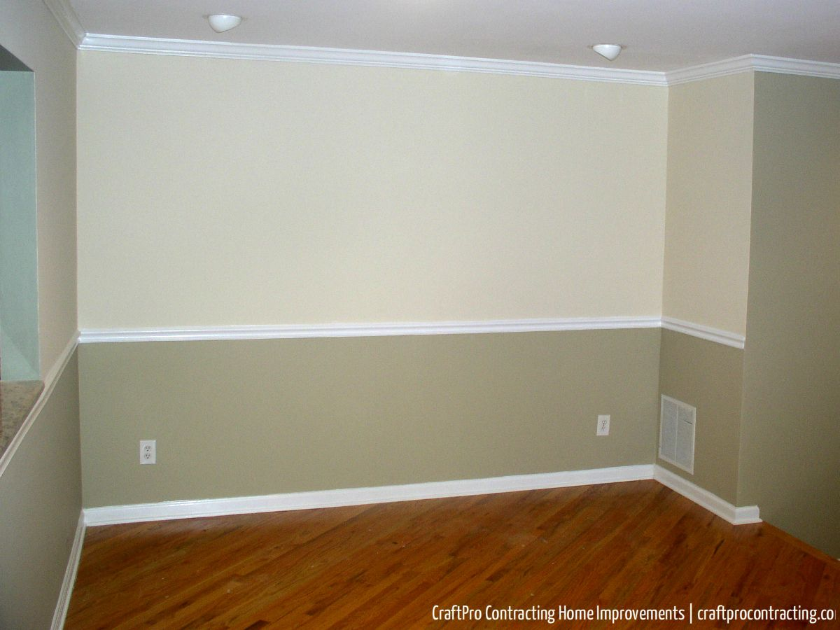 2 Tone Color Schemes two tone paint with chair rail in master bedroom - google search
