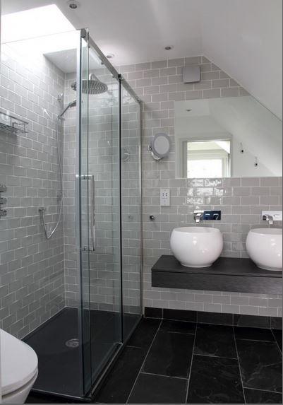 Classic Casual Modern Bath Slate Bathroom Light Grey Bathrooms Grey Slate Bathroom