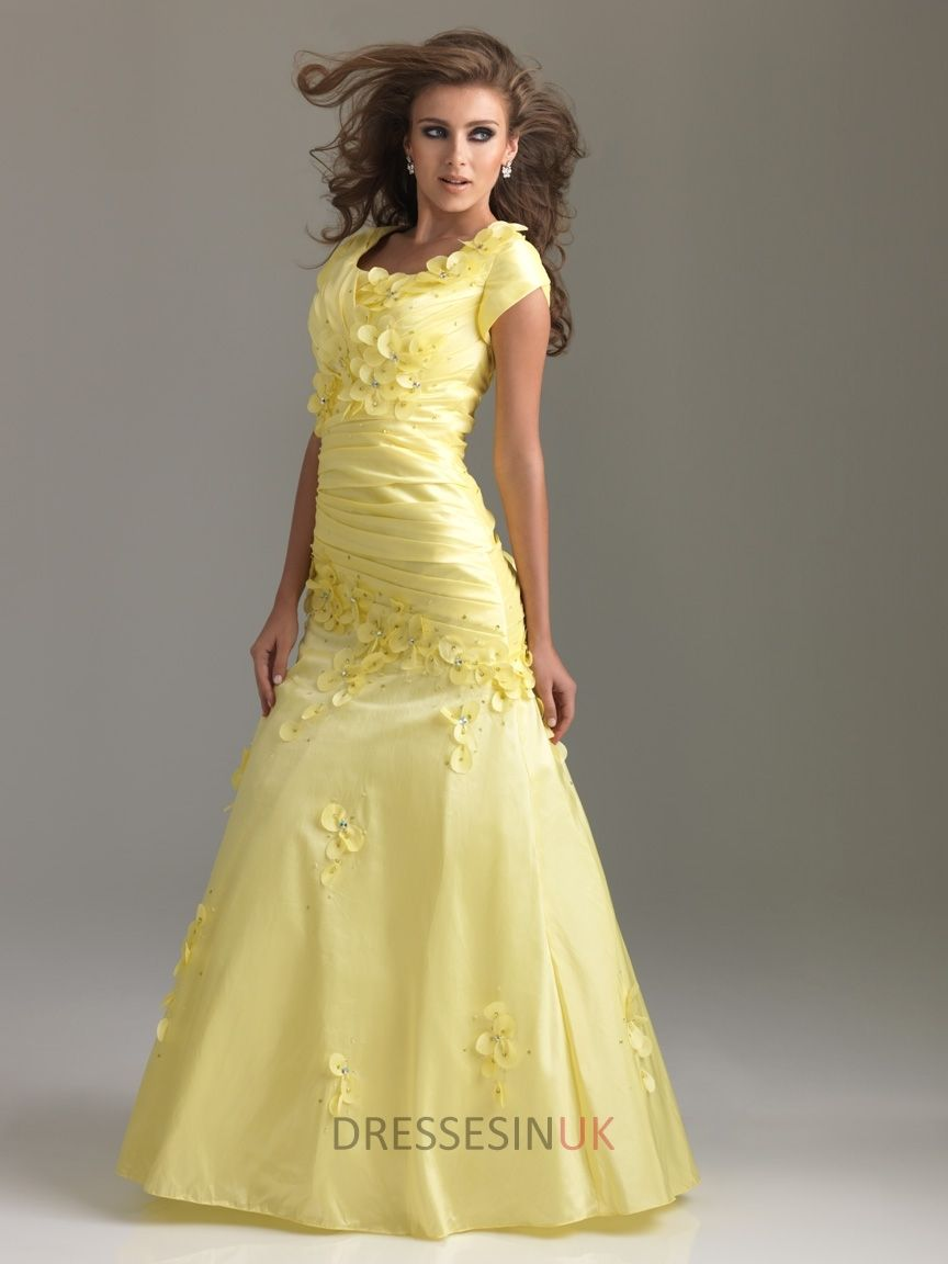 Aline cap sleeves ruched bodice beaded with appliques floor length