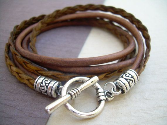 Braided Leather /& Sterling Silver Bracelet-Double Wrapped 3mm Antique Red Brown