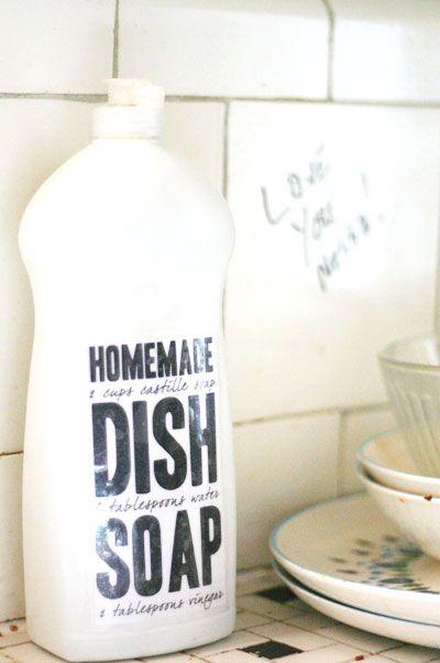 HOMEMADE DISH SOAP  Materials: 2 cups Castile soap 6 tbsp water 2 tbsp vinegar or lemon juice