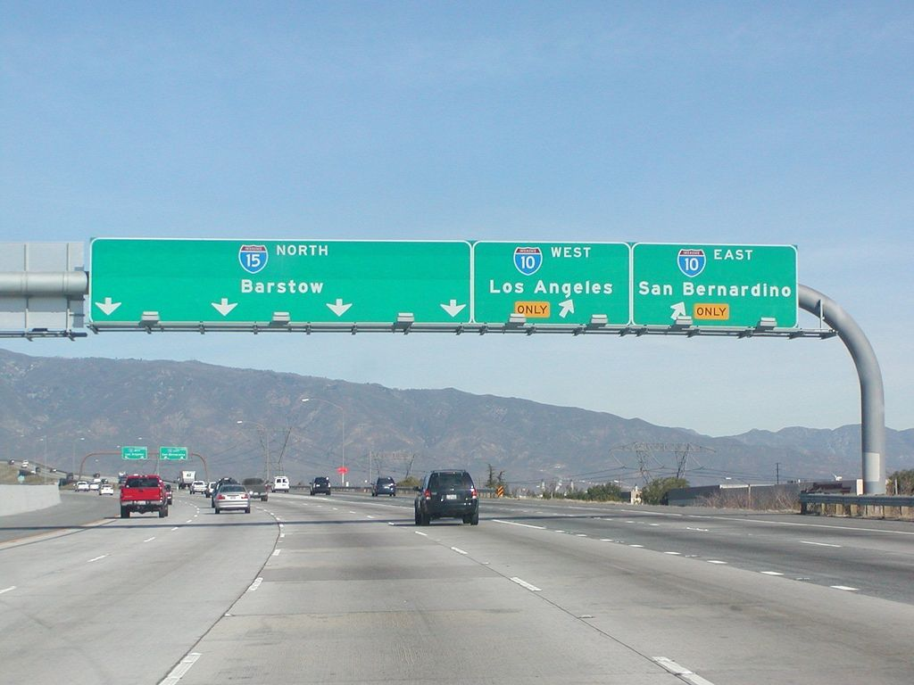 Interstate 15 northbound ontario freeway barstow las vegas ontario freeway barstow las vegas nevada four left lanes approaches at exit 109 interstate 10 freeway east san bernardino west los angeles two sciox Choice Image