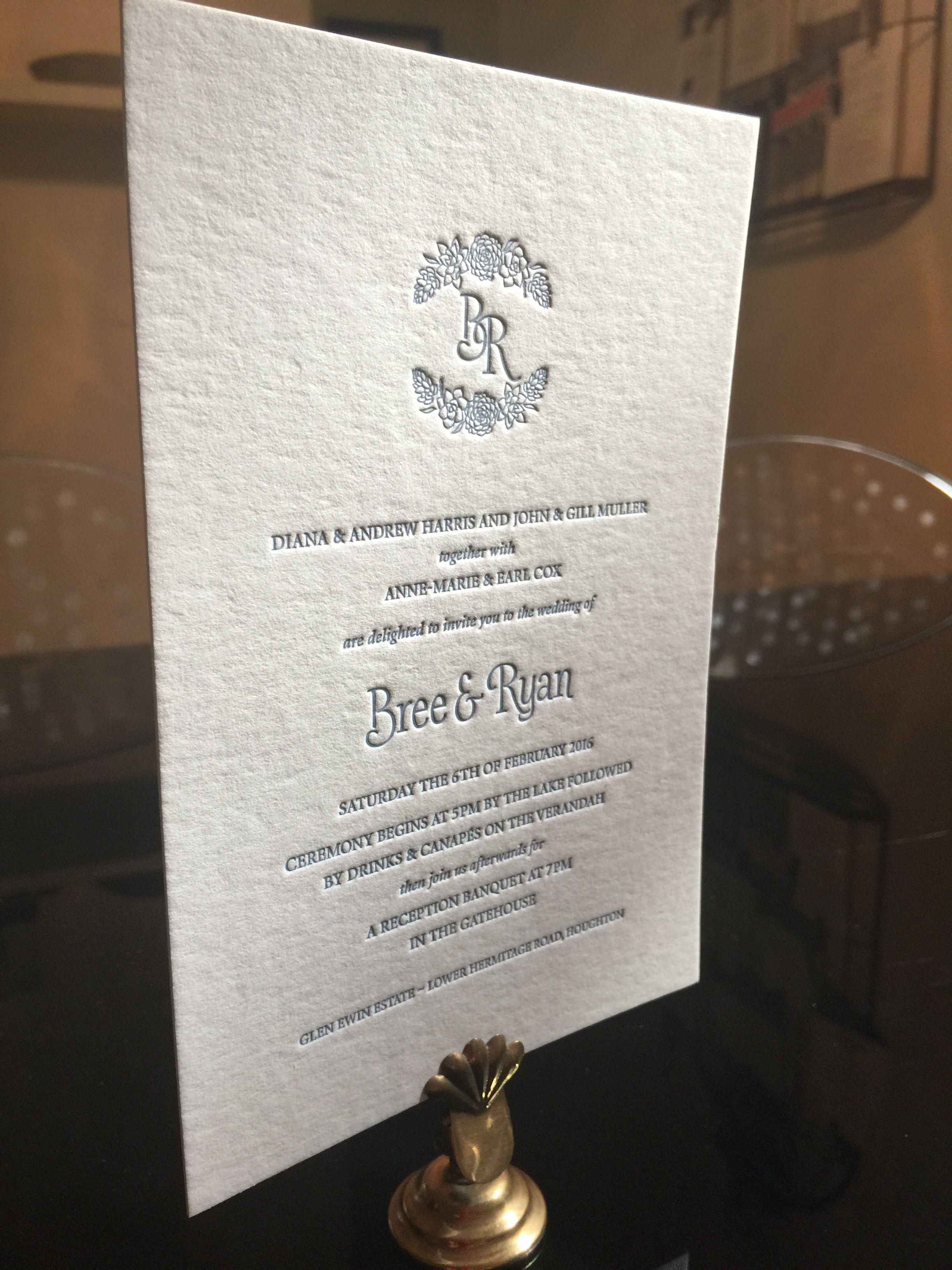 Letterpress wedding invite in china blue love in letter press
