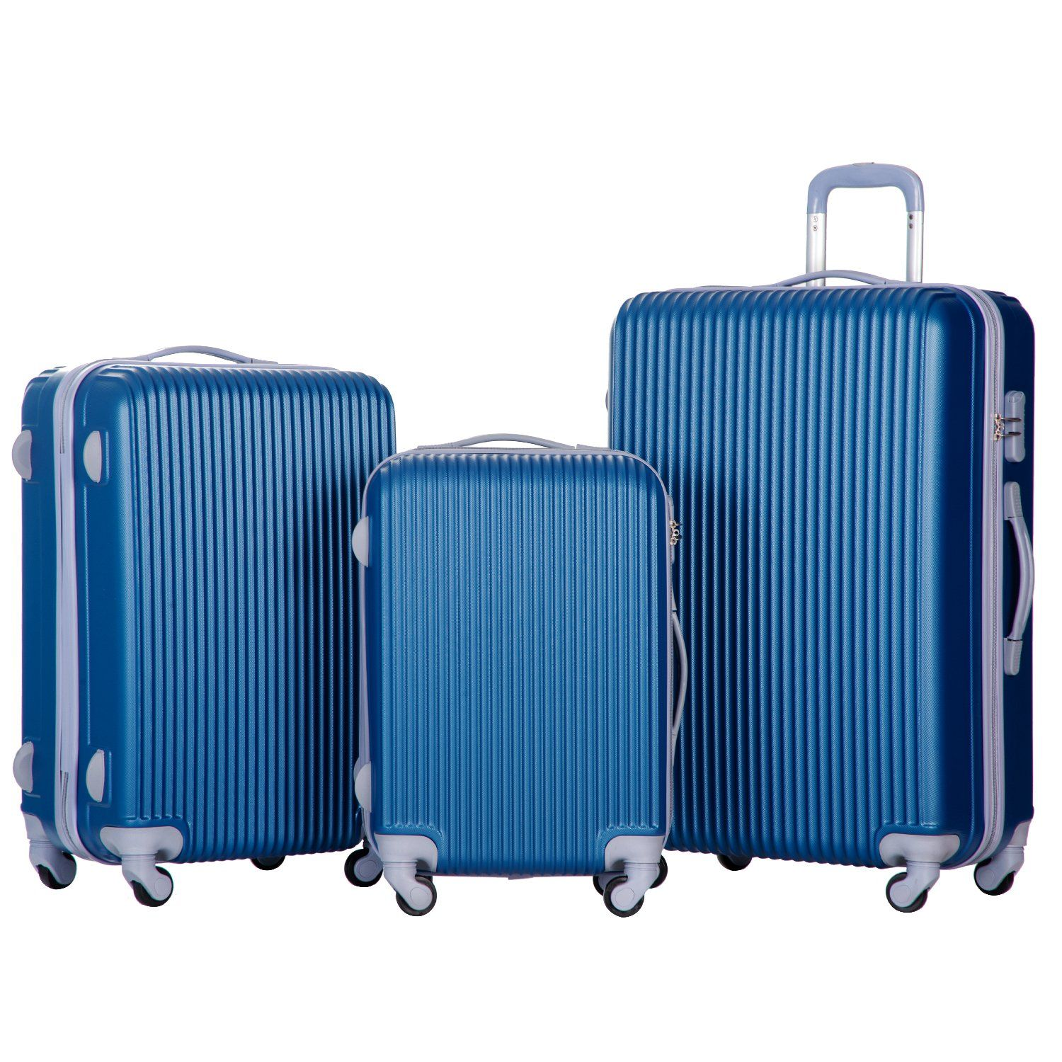 Merax Newest 3 Piece Luggage Suitcase Spinner Set ABS Material (Lake Blue)