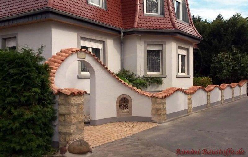 Tolles Zusammenspiel Der Gewaehlten Materialien Fuer Diese Mauer Gartenmauern Gartenmauer Garteneingang