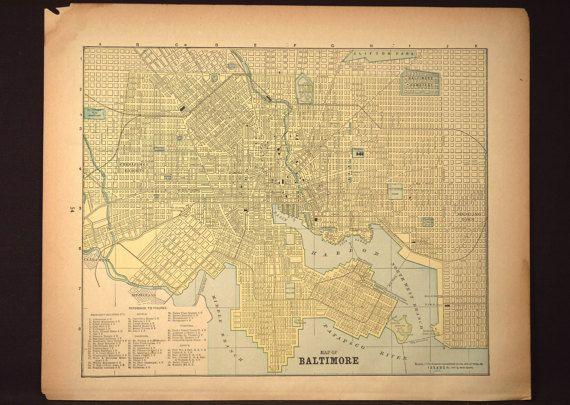 Map Baltimore Street Map Vintage Maryland Original 1800s