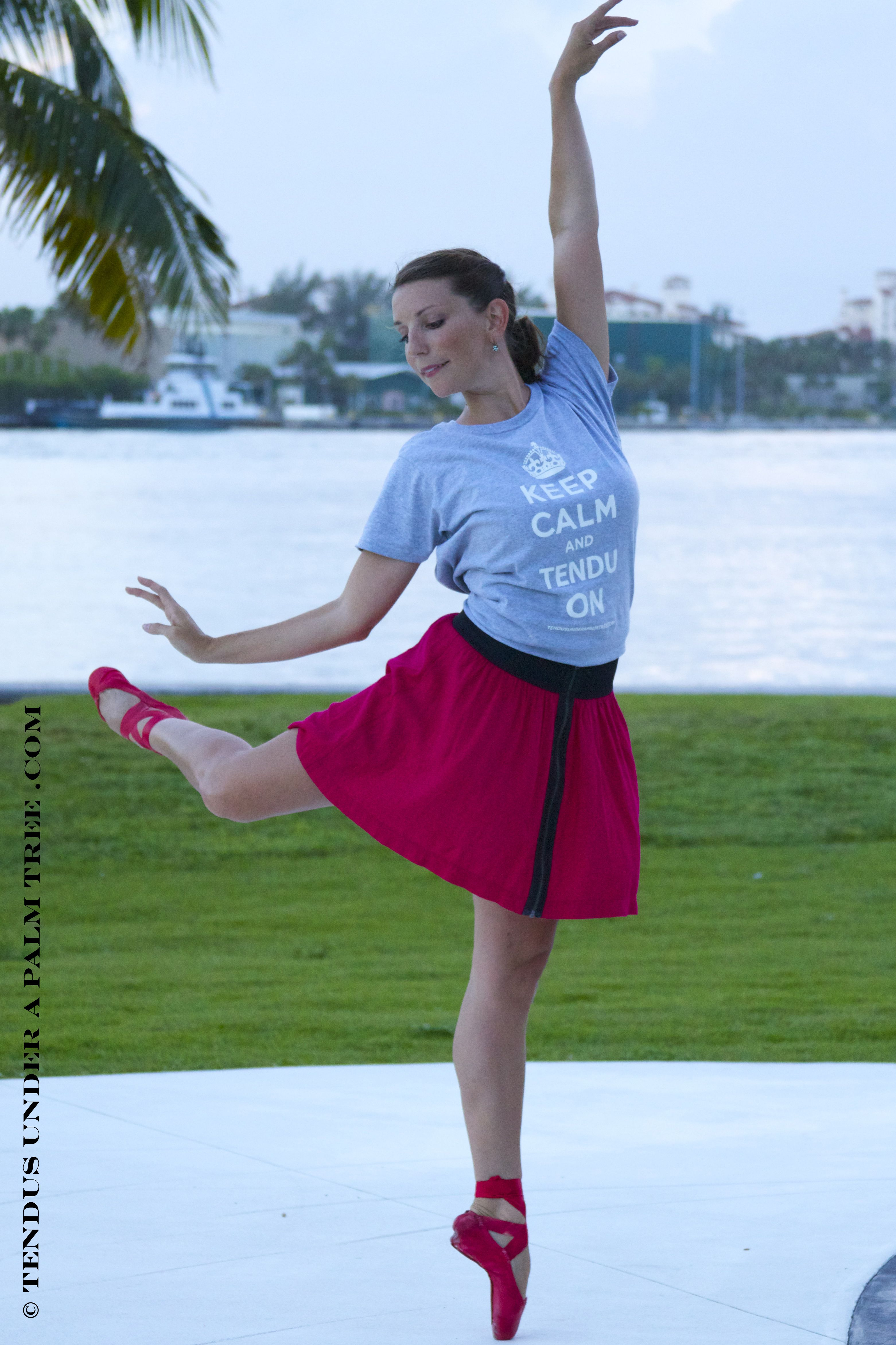 """Get your own """"Keep Calm and Tendu On"""" t-shirt for all the dance lovers in your life!    Click here to order now!  http://tendusunderapalmtree.com/keep-calm-and-tendu-on-logo-wear    Photo by Leigh-Ann Esty"""