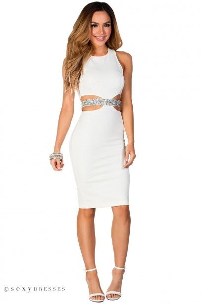 Evan White And Silver Rhinestone Embellished Sleeveless Cut Out