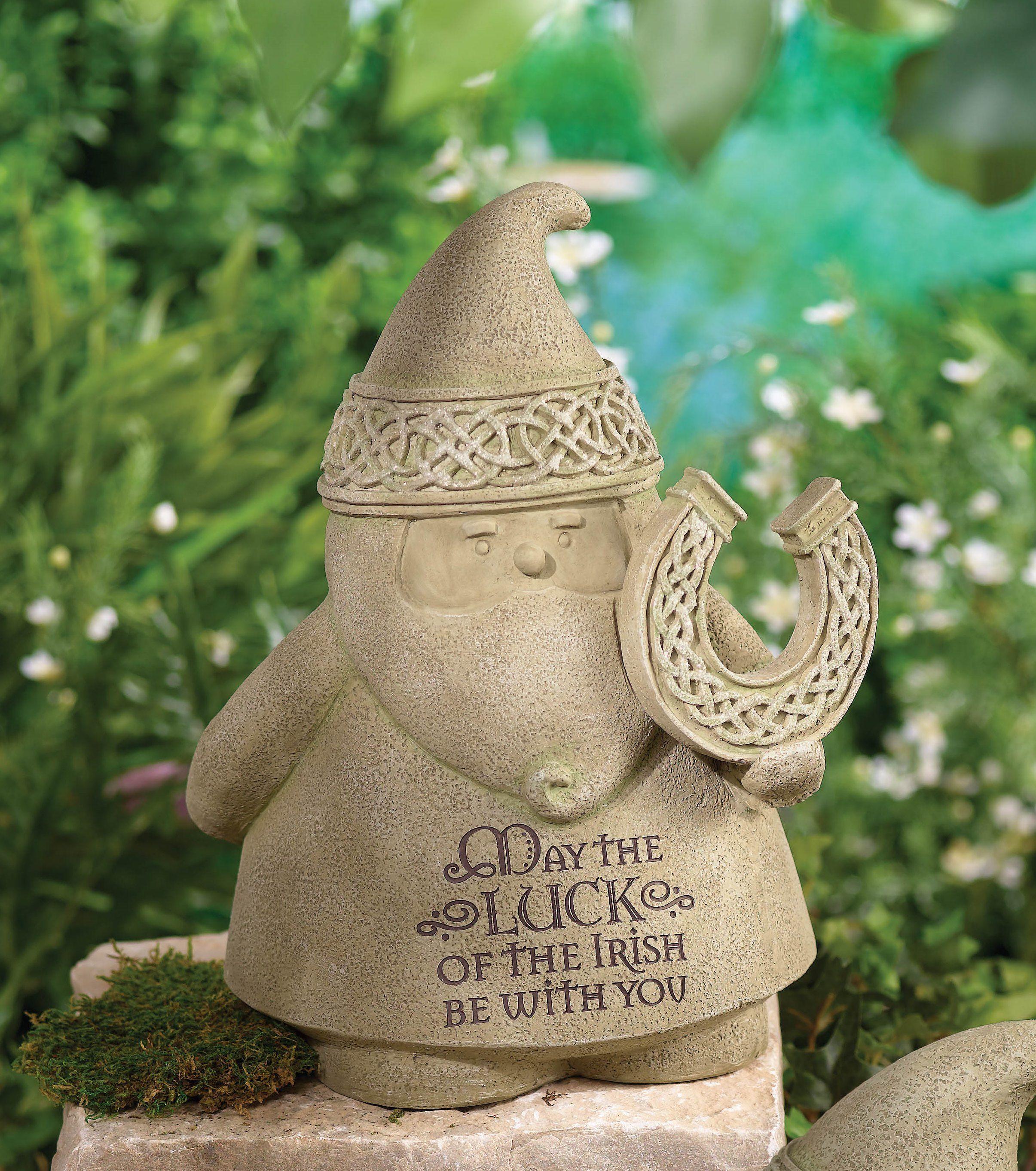 Loving this Grasslands Road 'Luck of the Irish' Celtic Gnome Figurine on #zulily! #zulilyfinds #GrasslandsRoad #Cement #Cute #Garden #Decor #Lucky