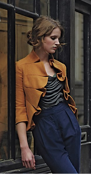Cowlneck tee, high waist pants and structured jacket - Anthropologie - The Cheap Chica's