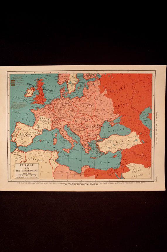 Vintage World War II Europe Map Mediterranean 1940s Orig 1943 ...