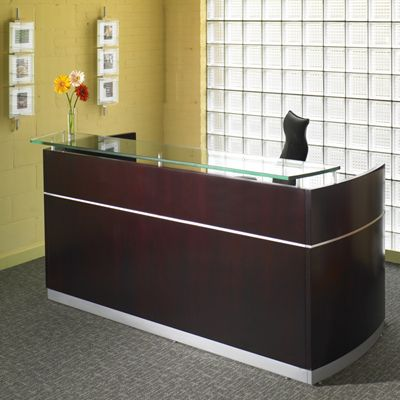 reception desk - simple clean, good height office Pinterest