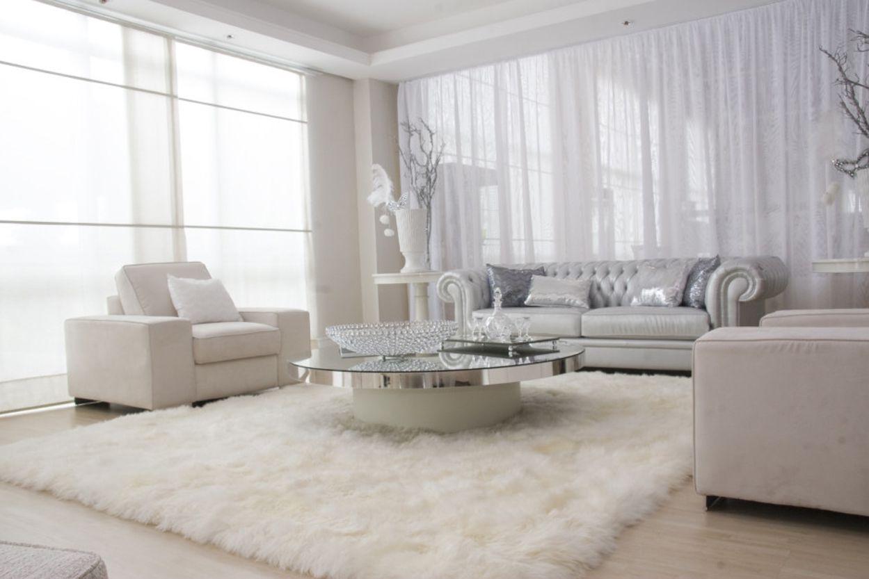 White Flokati Rug From Flokatirug Net Modern White Living Room