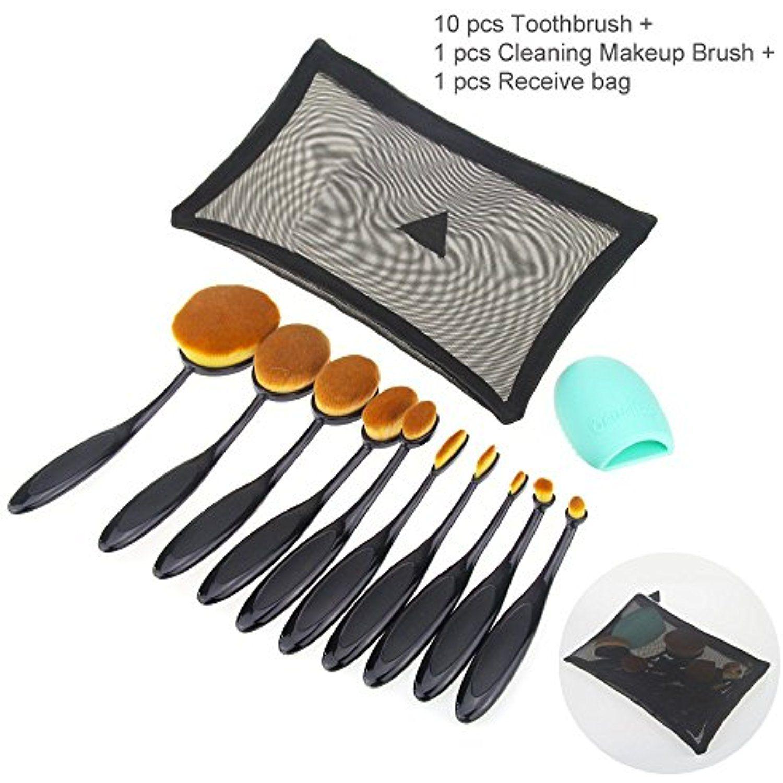 acac418dbfa7 Makeup Brushes MLMSY 10 Piece Oval Makeup Brush Set Toothbrush ...
