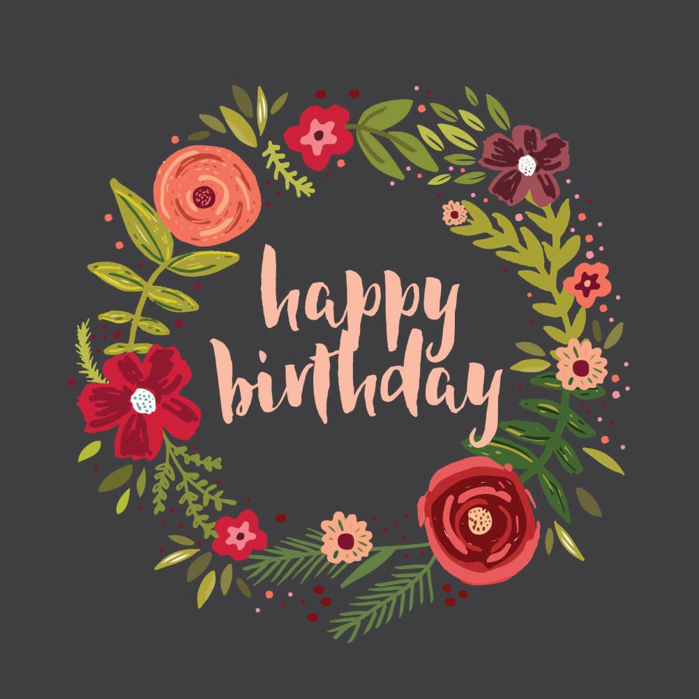 floral circle  birthday card free  greetings island