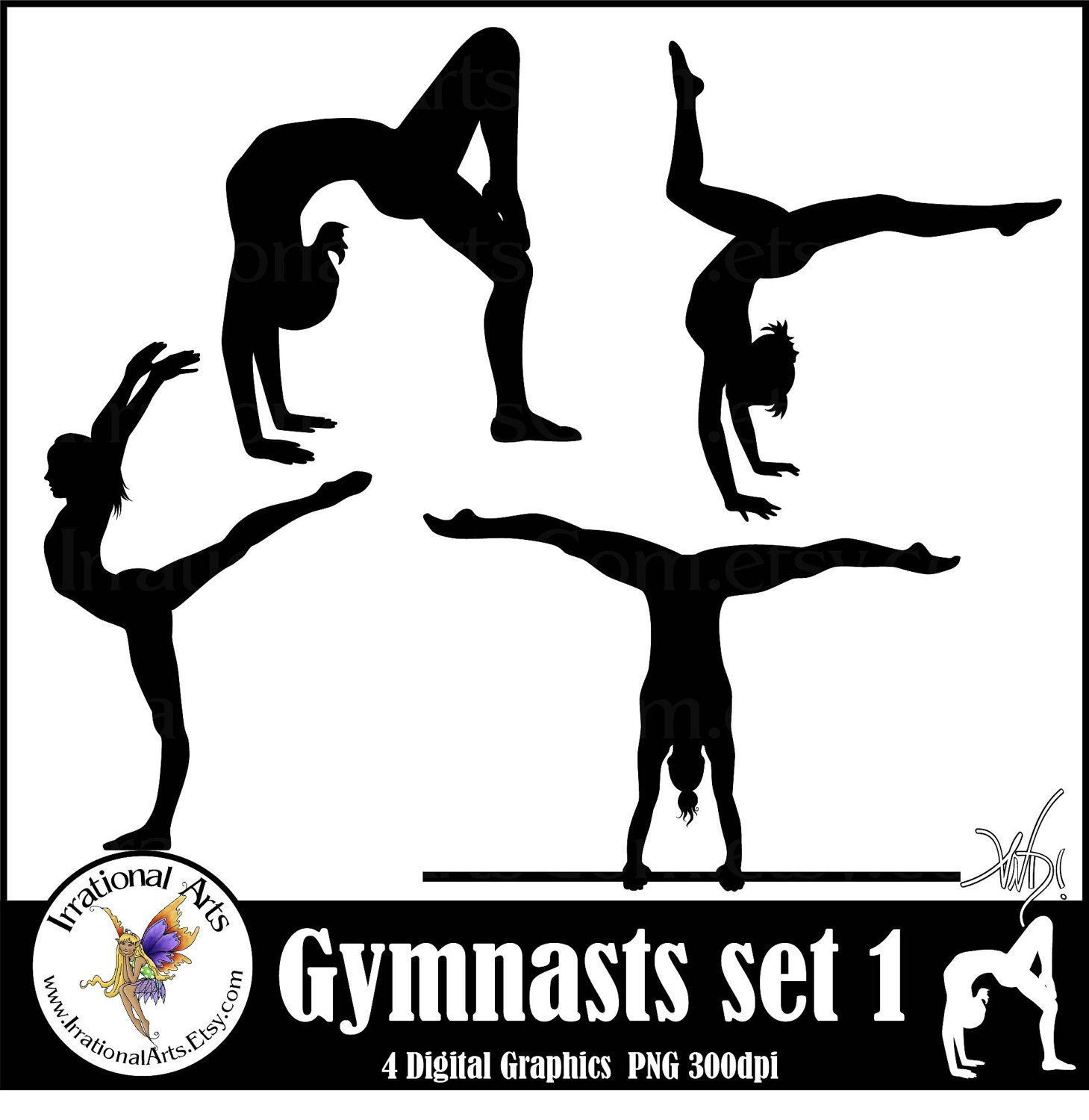 Female Gymnasts Silhouettes sets 1 & 2 with 8 PNG
