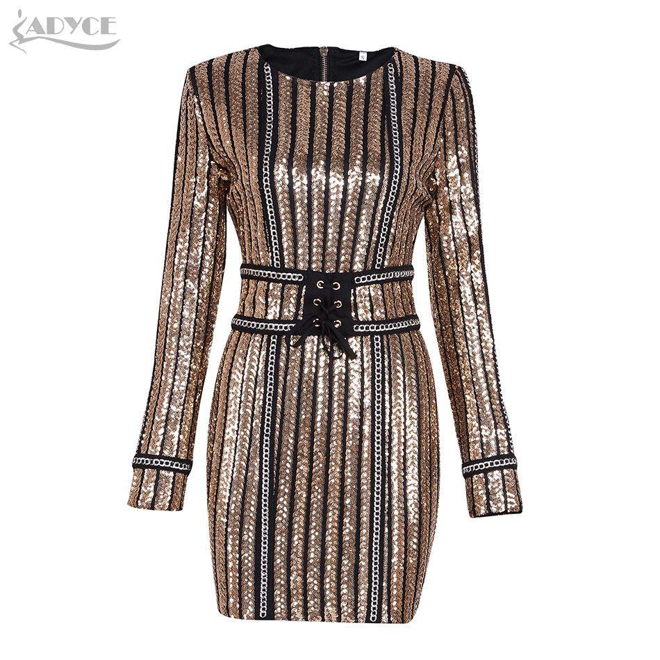 6ea019315a4 ADYCE 2017 Summer dress luxury Celebrity Runway Dress black O-Neck long  sleeve Sequins striped mesh Women Bodycon Dress Clubwear