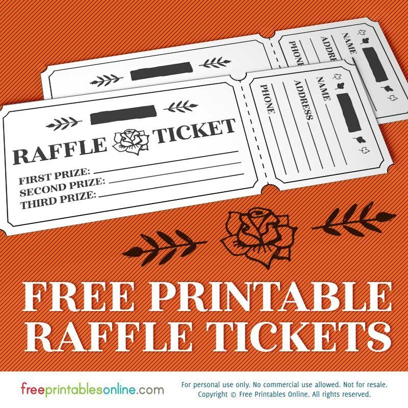 Free printable raffle template with a rippable or cuttable - Plate Sale Ticket Template