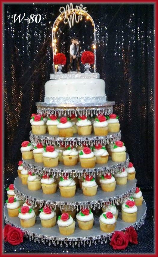 Red Rose Wedding Cupcakes With Cutting Cake By Rush City Bakery Mn
