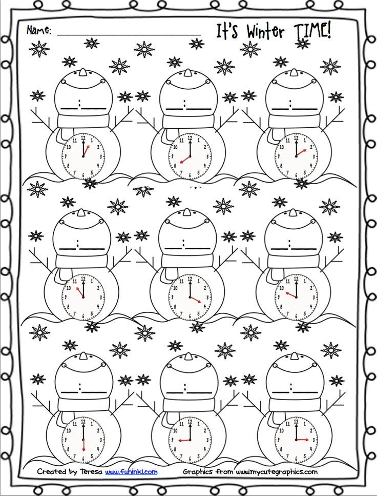 Free Winter Printables For Telling Time Winter Math Winter Math Worksheets 1st Grade Math