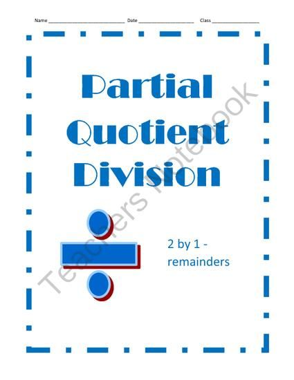 Partial Quotient Division 12 Problems 2 By 1 With Remainders