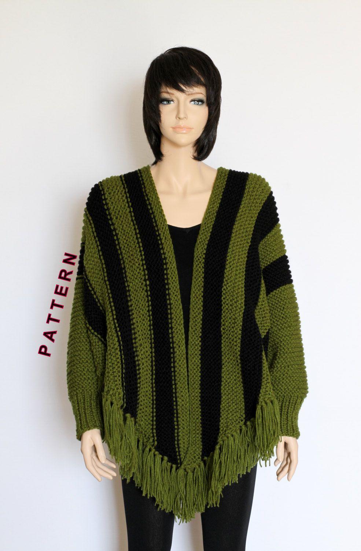 Knit Poncho Cape Pattern Shawl Pattern Striped Knitted Poncho ...