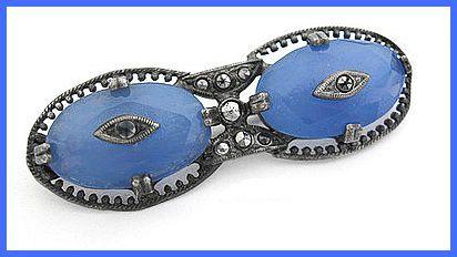 Vintage Art Deco CZECH Silver Blue Glass & Marcasite Bar Pin Brooch EX 1920s-30s via Etsy