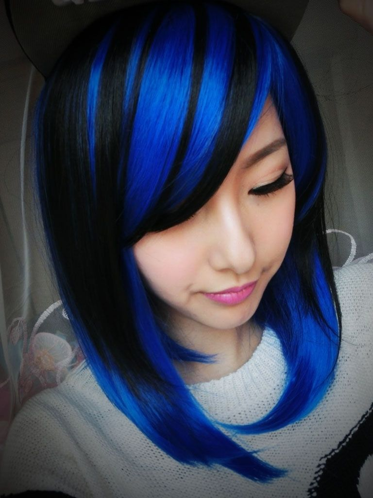 Blonde Hair With Blue Highlights Light Blue And Black Hair Blue
