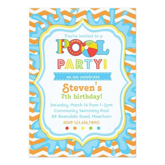 Pool Party Invitation Invite 5 X 7 Card