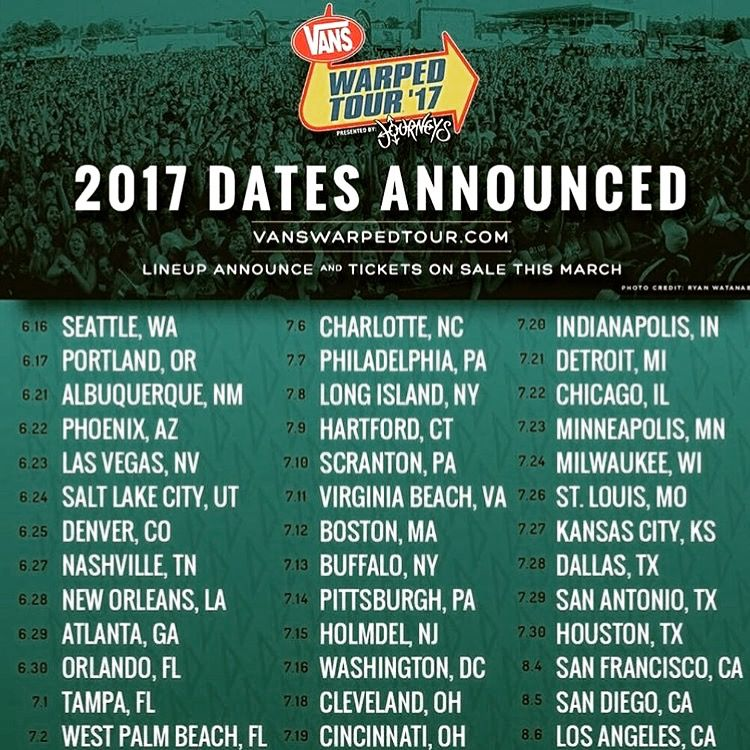 Warped tour 2017 dates! ❤️️who's ready to mosh?!